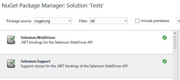 Package Nuget Selenium